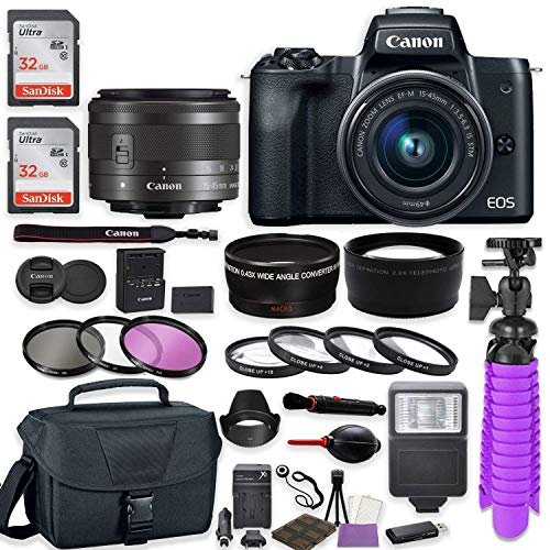 - Canon EOS M50 Mirrorless Digital Camera (Black) Premium Accessory Bundle with EF-M 15-45mm is STM Lens (Graphite) + Canon Gadget Case + 64GB Memory + HD Filters + Auxiliary Lenses