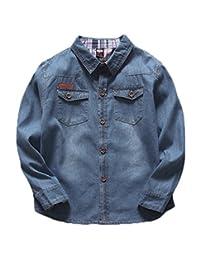 Aivtalk Boys Denim Shirts Plaid Cuffed Long Sleeve Blue Buttoms Down 2-8 Years