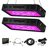 1200W LED Grow Light, Missyee 2-Pack Full Spectrum Plant Light with UV/IR, Thermometer Humidity Monitor and Adjustable Rope, Veg & Bloom Double Switch Grow Lamp, for Indoor Plants Veg Flower