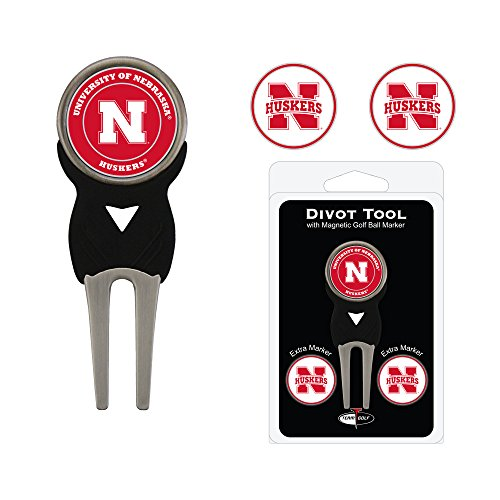 Team Golf NCAA Nebraska Cornhuskers Divot Tool with 3 Golf Ball Markers Pack, Markers are Removable Magnetic Double-Sided Enamel ()