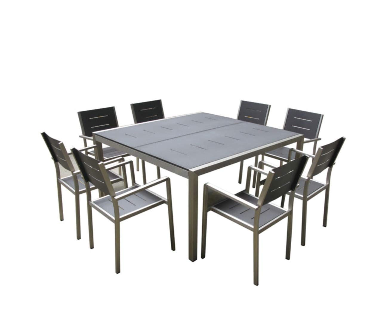 Mango Home 9-Piece Aluminum Resin Outdoor Patio Wicker Square Dining Table and Chairs Set
