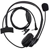 AOER 1 Pin Overhead Earpiece Headset Boom Mic Microphone Noise Cancelling for Motorola Talkabout COBRA Two Way Radio Walkie Talkie