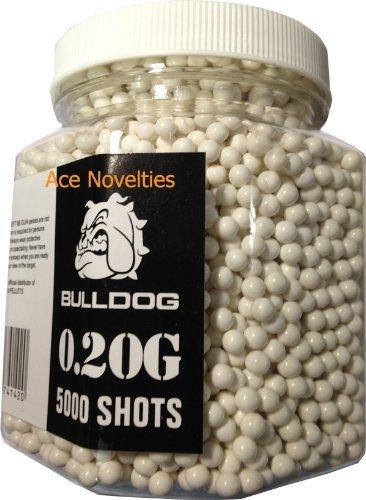 Bulldog High Pro Grade 6mm 0.20g Medium Weight WHITE BB Pellets x 5000 Tub by Ace Novelties