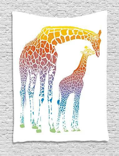 Giraffe Wall Hanging (Giraffe Wall Hanging Tapestry by Ambesonne, Mom and Kid Giraffe in Rainbow Colors Abstract Art Surrealist Illustration of African Animal, Bedroom Living Room Dorm Decor, 40 W x 60 L Inches, Multi)