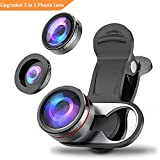 Camera Lens Kit, Stoon 180° Fisheye Lens & 15X Macro Lens & 0.65X Super Wide Angle Lens Clip-on Cell Phone Lens for iPhone X, 8, 8 Plus, 7, 7 Plus, 6, 6 Plus, Samsung Note 8, S9, S9 Plus, etc.