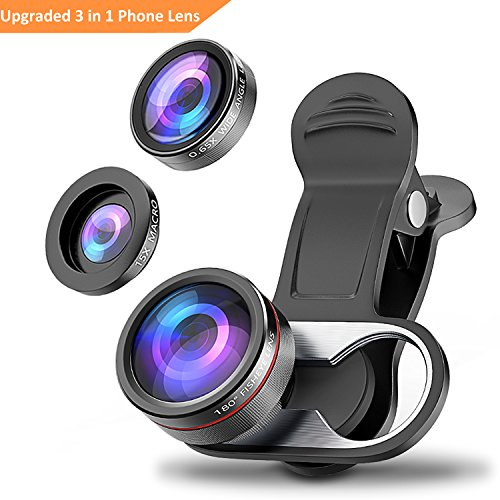 Camera Lens Kit, Stoon 180° Fisheye Lens & 15X Macro Lens & 0.65X Super Wide Angle Lens Clip-on Cell Phone Lens for iPhone X, 8, 8 Plus, 7, 7 Plus, 6, 6 Plus, Samsung Note 8, S9, S9 Plus, etc. by Stoon