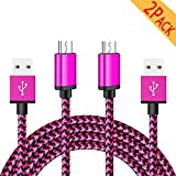 Micro USB Charger Cable Android Cord Fast Charging 6FT 2 Pack Quick Fast Usb For LG G3/G4/Stylo 3/V10/K10/X Style ,Samsung Galaxy S7 Edge/S7/S6/S4/S3,Note 5/4/3