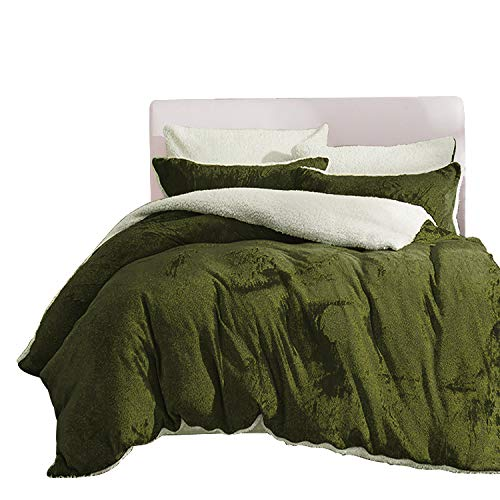 Maimingwan Winter Quilt Flannel Lamb Duvet Cover Sheet Pillow Case Bedding Set (Dark Green, Queen)