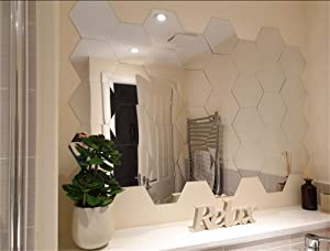 Mirror Wall Stickers Set, Hexagon Mirror Removable Art DIY Home Decorative Hexagonal Acrylic Mirror Sheet Plastic Mirror Tiles for Home Living Room Bedroom Sofa TV Background Wall Decal Decoration
