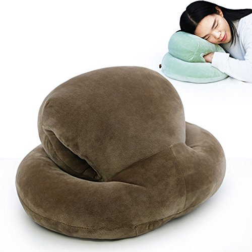 feierna Nap Sleeping Pillow Feather Fabric Napping Rest Travel Back Cushion Double Layer Head Student Office Pillow with Arm Support Four Seasons Universal (Coffee (Double Head Support)