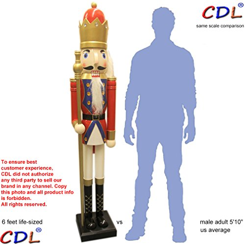 ECOM-CDL CDL 6ft tall life-size large/giant red Christmas wooden nutcracker king ornament on stand holds golden scepter for indoor outdoor Xmas/event/ceremonies/commercial decoration K20
