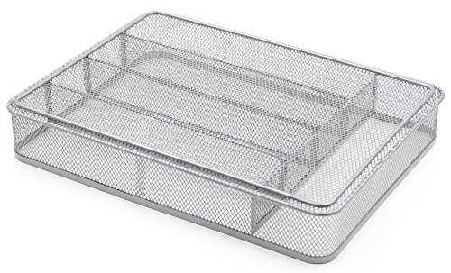 ESYLIFE 5 Compartment Mesh Kitchen Cutlery Trays Silverware Storage Kitchen Utensil Flatware Tray, Silver by Esy-Life (Image #5)