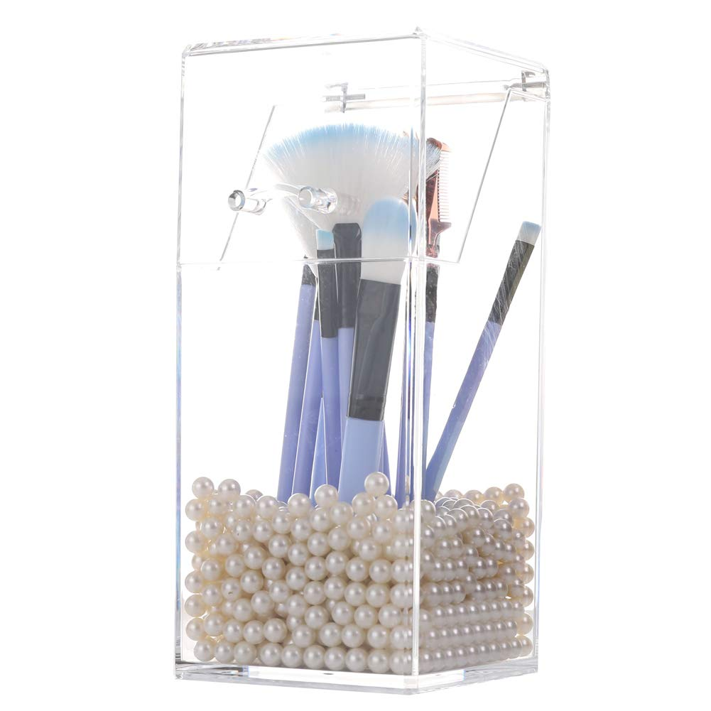 Sooyee Acrylic Makeup Brush Holder with Lid, Waterproof Dustproof Storage Box Covered Cosmetic Brush Organizer with Free White Pearls for Vanity Countertop,Clear 3.7x3.7x8.3 inch