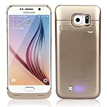 Galaxy S6 Battery Case, 2015 Newest 4200mAh Ultra Slim Rechargeable Extended Battery Case for Samsung Galaxy S6, Backup External Battery Charger Case, Portable Backup Power Bank Case with Kickstand Gold