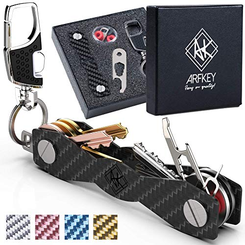 Carbon Fiber Compact Key Holder - Premium Heavy-Duty Key Organizer UP to 28 Keys -B0NUS Keychain Holder with Loop Piece for Belt or Car Keys - SIM & Bottle Opener + Video Instructions (Black Carbon)