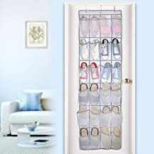Over the Door Shoe Organizer, 24 Mesh Pockets Single-sided Hanging Shoe Storage Rack with Hooks