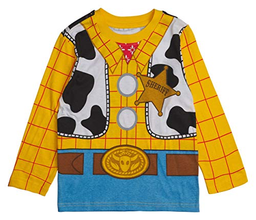 Disney Toy Story Long- Sleeve Costume T- Shirt -Buzz Lightyear, Woody - Boys (Sheriff Woody, 7)]()