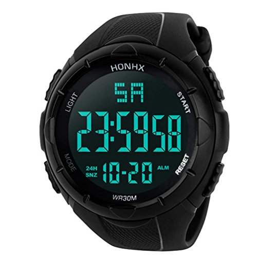 Mens Digital Sports Watch, Inkach Waterproof LED Quartz Wrist Watch Stopwatch with Backlight ()