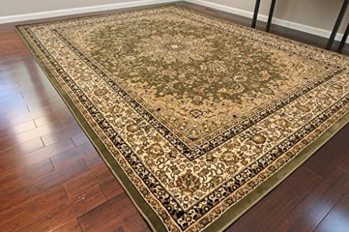 Dunes Traditional Isfahan High Density 1 Thick Wool 1.5 Million Point Persian Area Rug, 13 x 16 , Sage Green