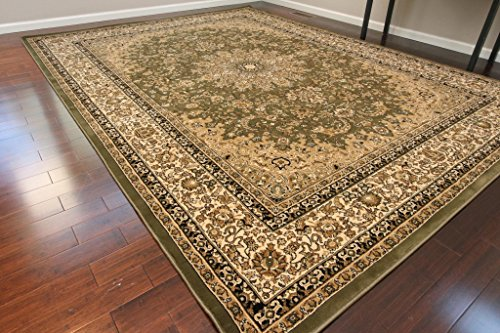 Dune Sage - Sage Green Traditional Isfahan Dunes High Density 1 Inch Thick Wool 1.5 Million  Point Persian Area Rugs 5'2 x 7'3