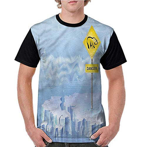 Baseball Tee Shirt,Winter,Polar Bear Danger Sign North S-XXL Men Short Sleeve T-Shirt