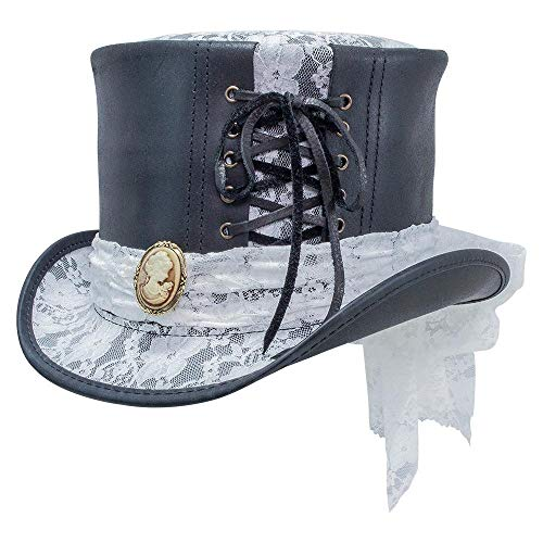 American Hat Makers Havisham-White Curtsy Band by Steampunk Hatter Leather Top Hat, Black Finished - Medium