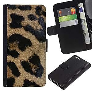 KLONGSHOP // Tirón de la caja Cartera de cuero con ranuras para tarjetas - Patrón de piel animal de África Naturaleza - Apple Iphone 6 PLUS 5.5 //