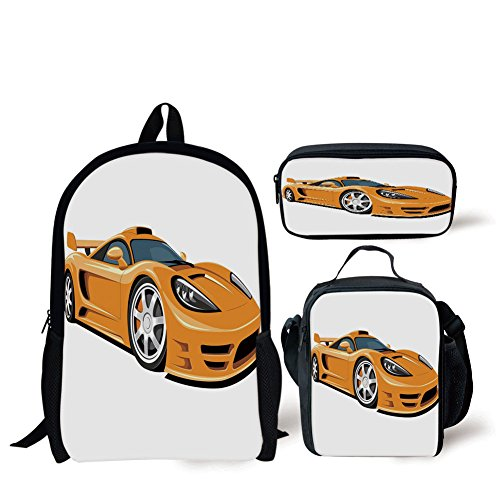iPrint School Lunch Pen,Cars,Orange Sports Car Fast Racing Roadster Modern Automotive Technology Decorative,Pale Orange Black ()