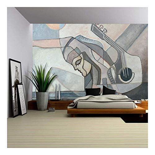 (wall26 - Abstract Painting with Woman and Guitar and Geometrical Forms - Removable Wall Mural   Self-Adhesive Large Wallpaper - 66x96 inches )