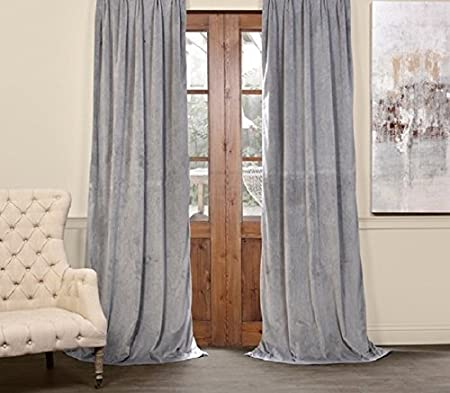 BRAPERITE SILVER GREY COTTON VELVET CURTAINS INCLUDING TIE BACKS 100 BLACKOUT FULLY LINED PENCIL PLEAT