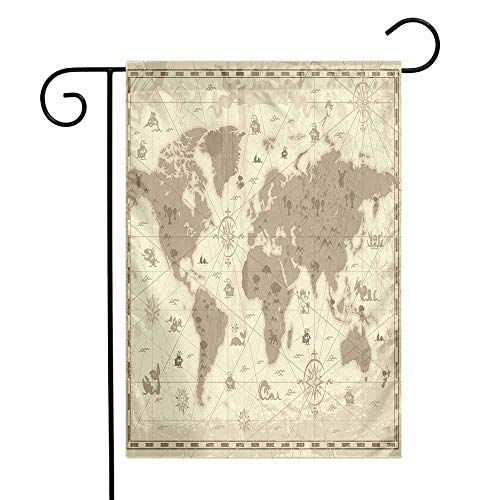 Map Garden Flag Aged Retro Styled Map of The World with Mountains Fantasy Monsters and Compass Premium Material W12 x L18 Sepia Light Yellow ()