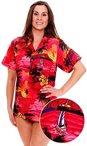 Funky Hawaiian Blouse Women Short-Sleeve Front-Pocket Surf Beach Multiple Colors