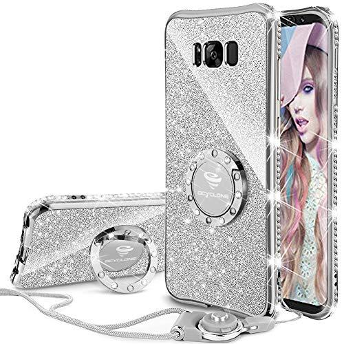 OCYCLONE Galaxy S8 Plus Case, Glitter Cute Phone Case for Women Girls with Kickstand, Bling Diamond Rhinestone Bumper…