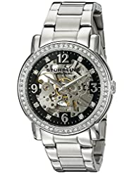 Stuhrling Original Women's 531L.11111 Classic Delphi Canterbury Automatic Skeleton Swarovski Crystal Accented Black Dial Watch