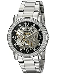 Stuhrling Original Women's 531L.11111 Classic Delphi Canterbury Automatic Skeleton Swarovski Crystal Accented Black Dial Watch