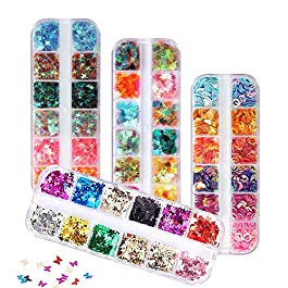 48 Boxes Holographic Nail Sequins, FITDON Shell Round Star Leaf Butterfly Iridescent Flake Nail Glitter, Colorful Confetti Sticker Manicure Nail Art Supplies Make Up DIY Decals Decoration
