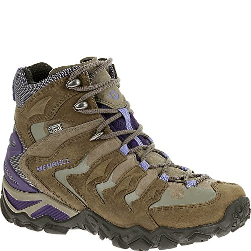 Merrell Women's Chameleon Shift Mid Waterproof Hiking Boot, Stucco/Purple, 9.5 M US