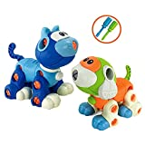 Cat Dog Take-Apart Engineering Set, STEM Learning Construction Building Toy Animal with Drill for Kids Toddlers, 2 Pack 88 Pieces
