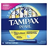 Tampax Pearl Plastic Tampons, Regular Absorbency, 50 Count, Unscented