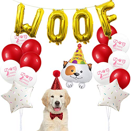 - ETLEE Dog Party Supplies - Dog Birthday Hat and Bow Tie with WOOF Letter Banner and Happy Birthday Balloons - Dog Birthday Outfit and Decoration Set (Red)