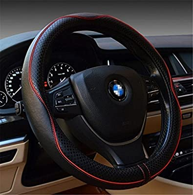 Automotive Interior Accessories 38cm Emboss Top Leather Steering Wheel Cover Thick Nylon Interior Ring Soft Breathable Steering Wheel Wrap (Black+red)