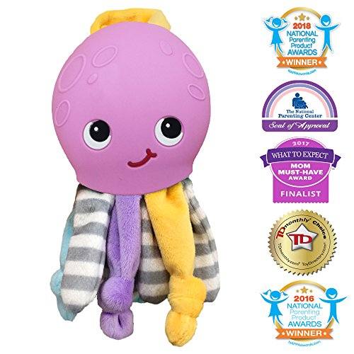 Silli Chews 2 in 1 Octopus Baby Toy Lovie Soft Plush Animal and Silicone Soft Teething Pain Relief Teether for Babies Infants and Toddlers PVC, Phthalate, Lead, and BPA Free Chew Toy Purple ()