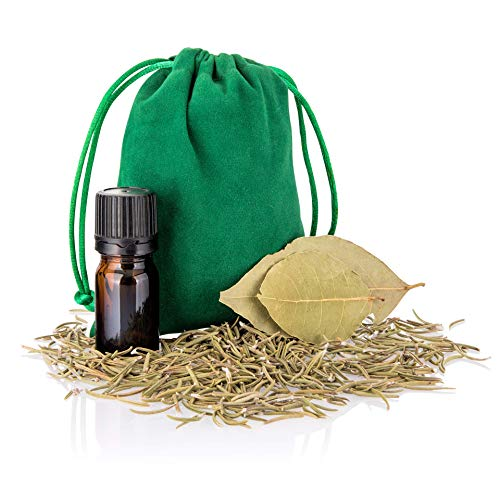 Mojo Bag for Spells with Rosemary, Bay Leaf, Wish Oil and Guidelines Card (Green)