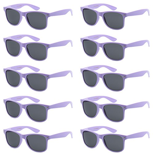 WHOLESALE UNISEX 80'S RETRO STYLE BULK LOT PROMOTIONAL SUNGLASSES - 10 PACK (Lilac Lavender / Smoke, 52 mm)