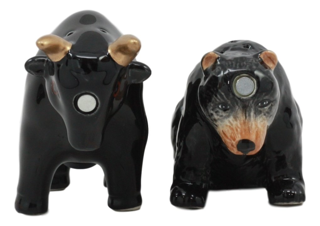 Ebros Wall Street Charging Bull Versus Angry Bear Salt And Pepper Shakers Set Fun Kitchen Dining Bull Matador And Black Bear Ceramic Magnetic Decor Figurines by Ebros Gift (Image #1)