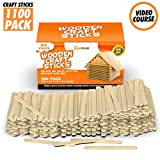 Popsicle Sticks for Crafts - Craft Sticks Pack 1100 Wooden Sticks for DIY Projects with Natural Wood Safe for Ice Popsicles - Wooden Craft Sticks Ready to Use & Perfect for Classrooms, Home and More