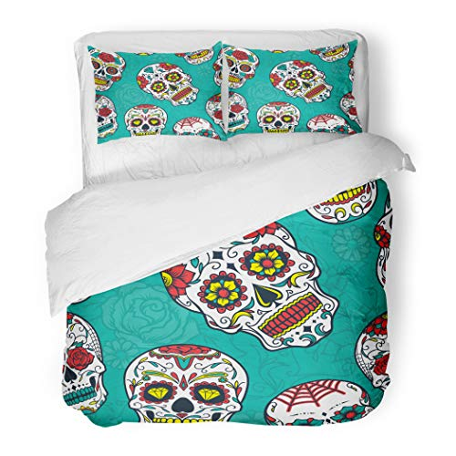 Emvency Bedding Duvet Cover Set Full/Queen (1 Duvet Cover + 2 Pillowcase) Dead Colorful Sugar Skull Floral and Flower Day Pattern Hotel Quality Wrinkle and Stain Resistant for $<!--$98.90-->