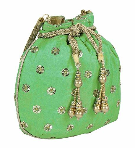 Sac Superbe main Floral Sac à main Superbe femme à Broderie pour Potli Collection Couleur Vert qqrX5
