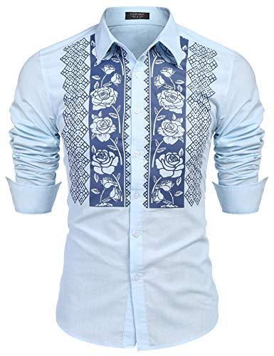 COOFANDY Floral Cotton Linen Shirt Long Sleeve Beach Shirts Casual Button Down Shirts from COOFANDY