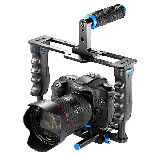 Neewer Aluminum Alloy Camera Video Cage Film Movie Making Kit include:(1)Video Cage(1)Top Handle Grip(2)15mm Rod